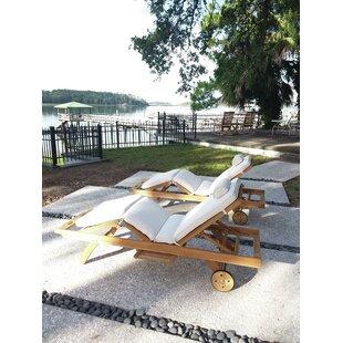 Dominga Reclining Teak Sun Lounger Set with Cushion and Table