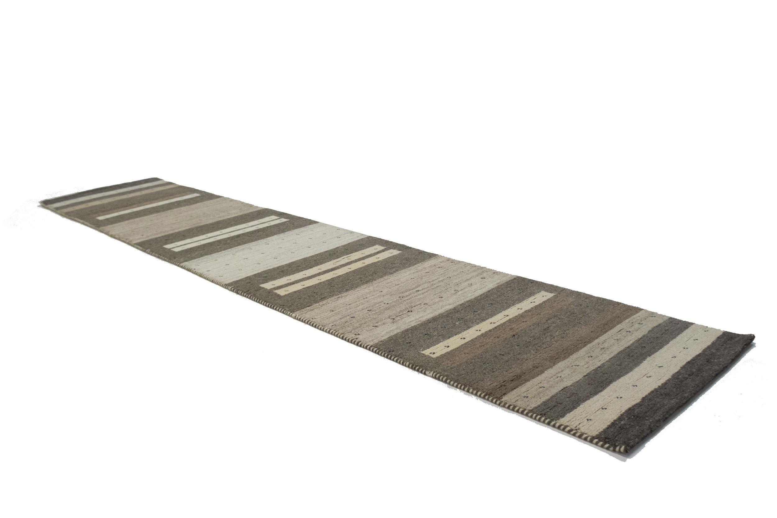 Adminrugs Runner Striped Hand Knotted Wool Brown Beige Area Rug Wayfair