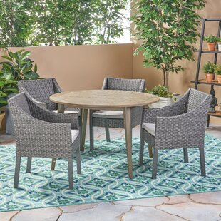 Bungalow Rose Liberatore Outdoor 5 Piece Dining Set with Cushions