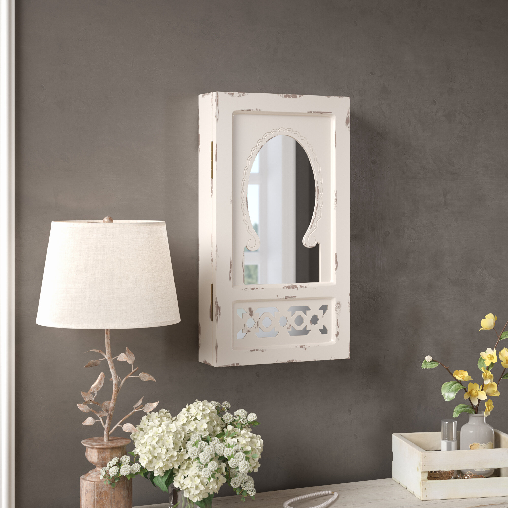 Meyerson Wall Mounted Jewelry Armoire with Mirror