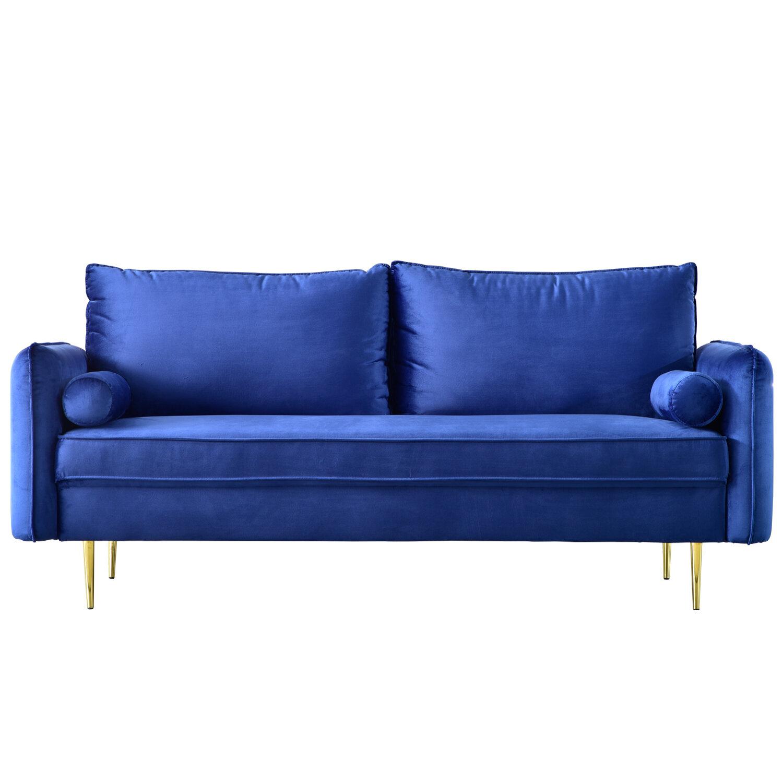 Mercer41 Pasquale Velvet 71 26 Square Arm Sofa Wayfair