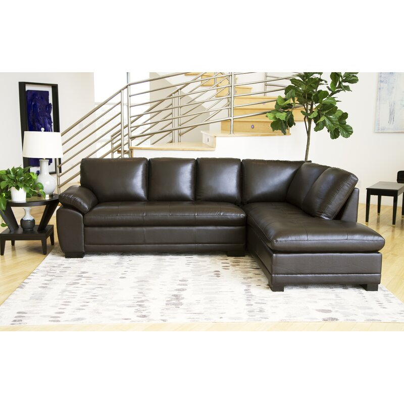 Darby Home Co Barnard Leather 114 Right Hand Facing Sectional Reviews Wayfair