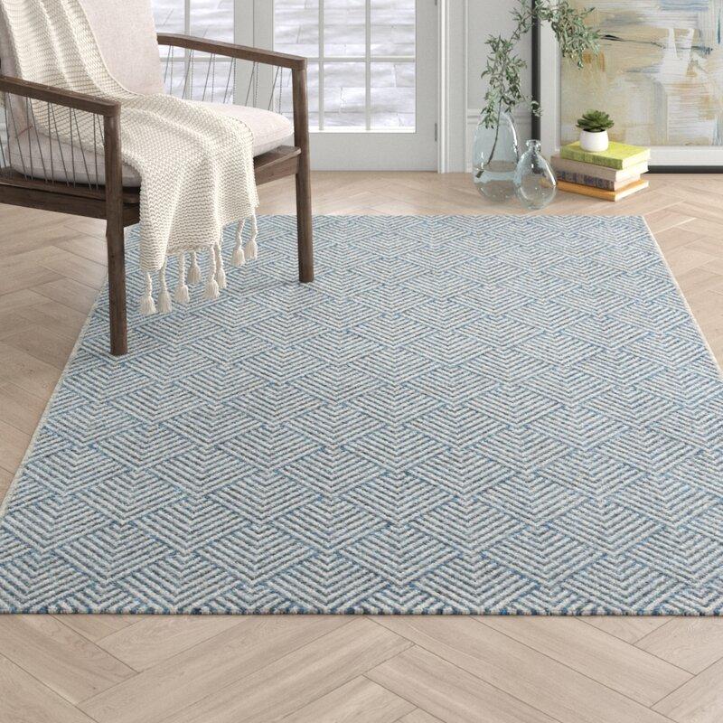 Landon Blue Geometric Indoor Outdoor