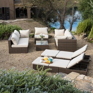 Malaptias 8 Piece Rattan Sectional Set with Cushions
