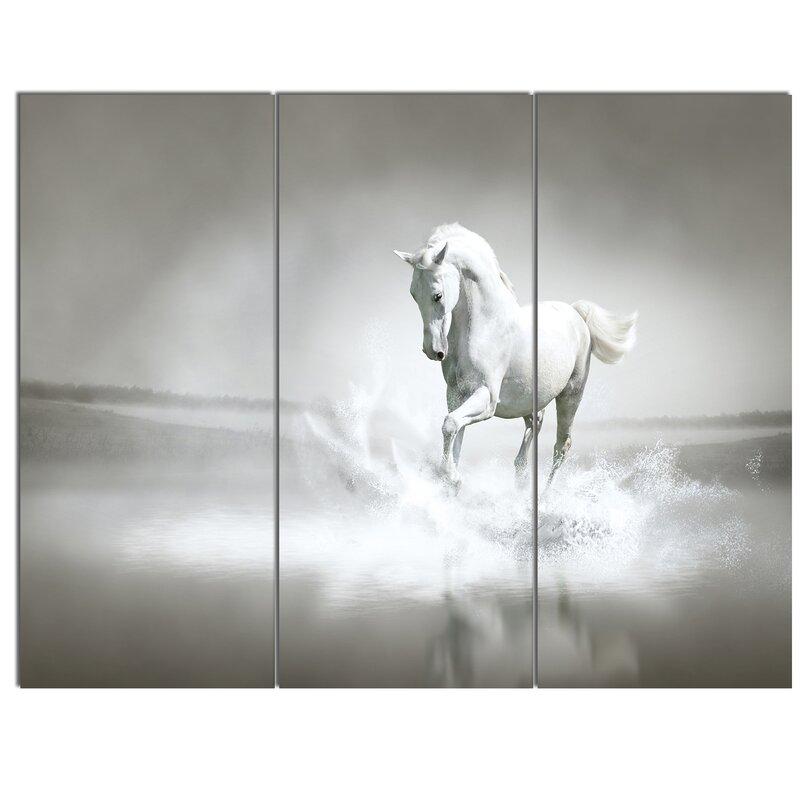u0027white horse running in wateru0027 3 piece wall art on wrapped canvas set u0027