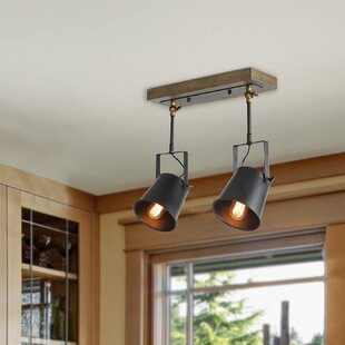 Wood Spotlight 2-Light Flush Mount by LNC Home