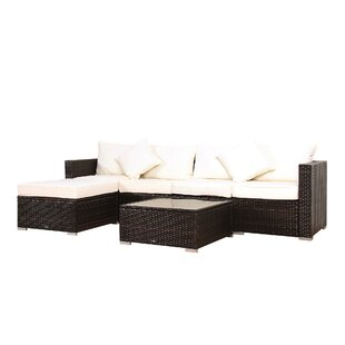 Deguzman 6 Piece Rattan Sectional Set with Cushions