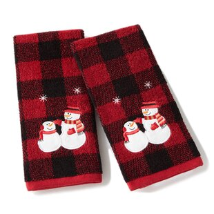 Brewster Snowmen Plaid Cotton Hand Towel (Set of 2)