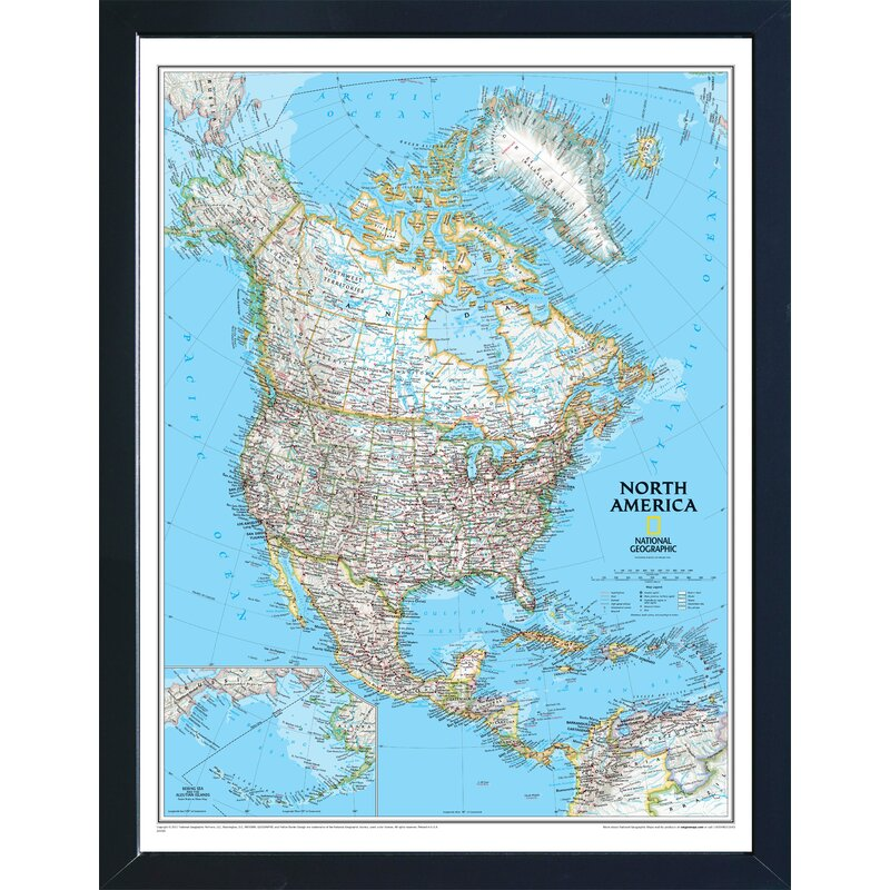 Breakwater Bay Giavanna Magnetic Travel Map National Geographic North America Classic Wayfair