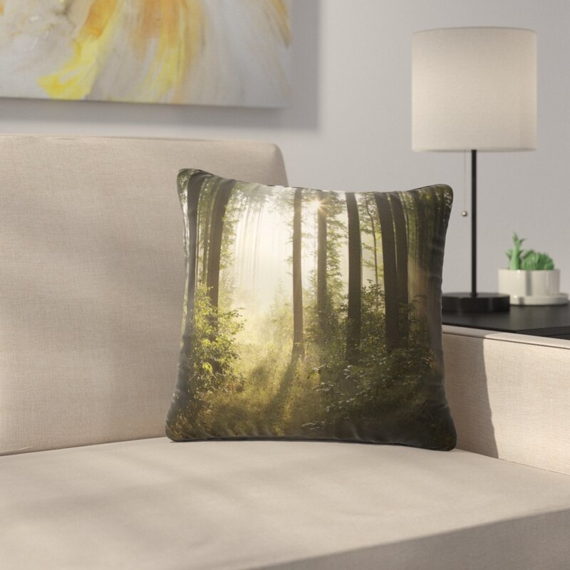 East Urban Home Early Morning Sun In Misty Forest Landscape Photography Pillow Wayfair