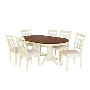 Alvy 7 Piece Solid Wood Dining Set by August Grove Comparison