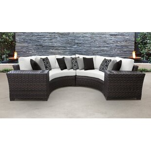 kathy ireland Homes & Gardens River Brook 4 Piece Outdoor Wicker Patio Furniture Set 04a by TK Classics