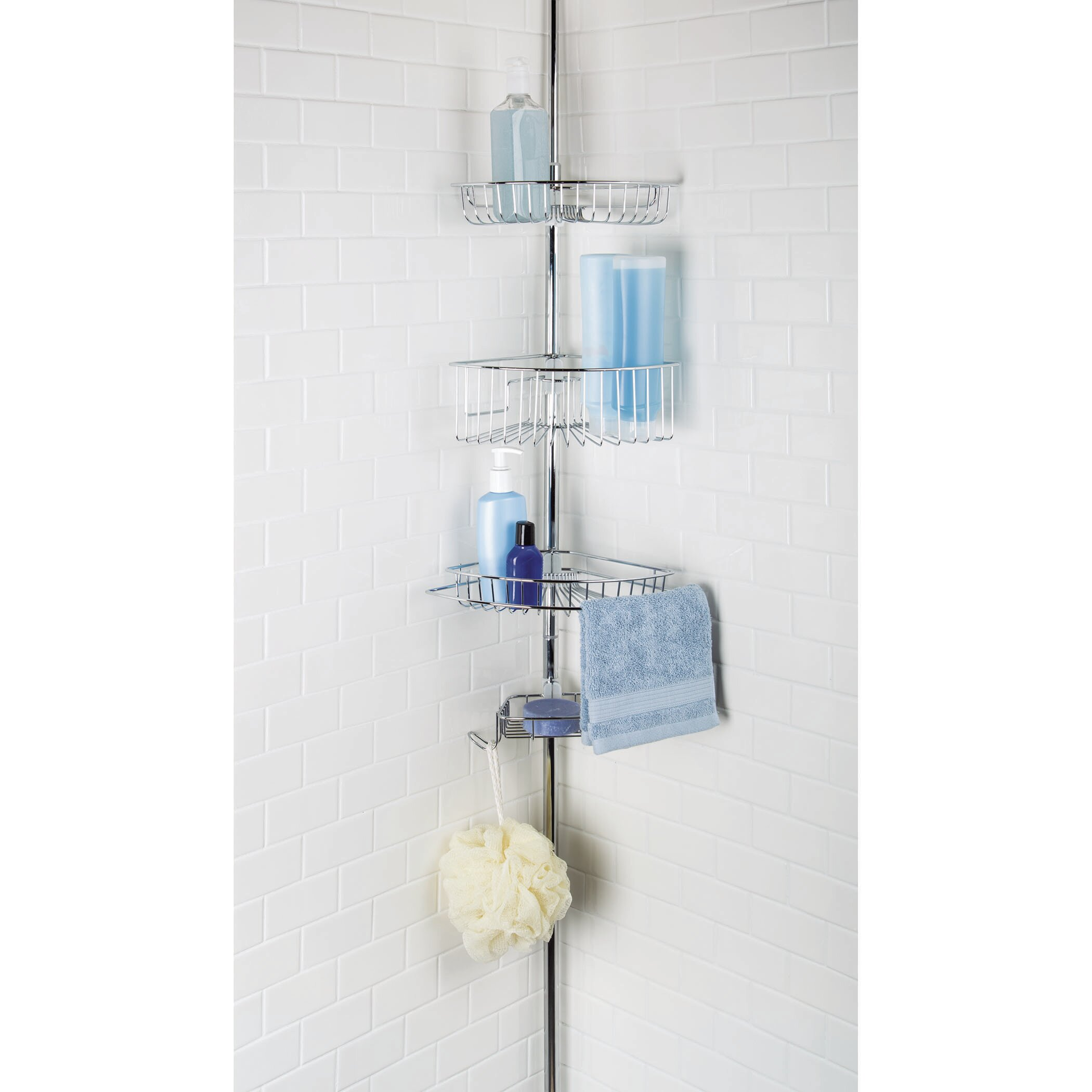 Rebrilliant Juliet 3 Tier Corner Tension Pole Shower Caddy with Soap ...