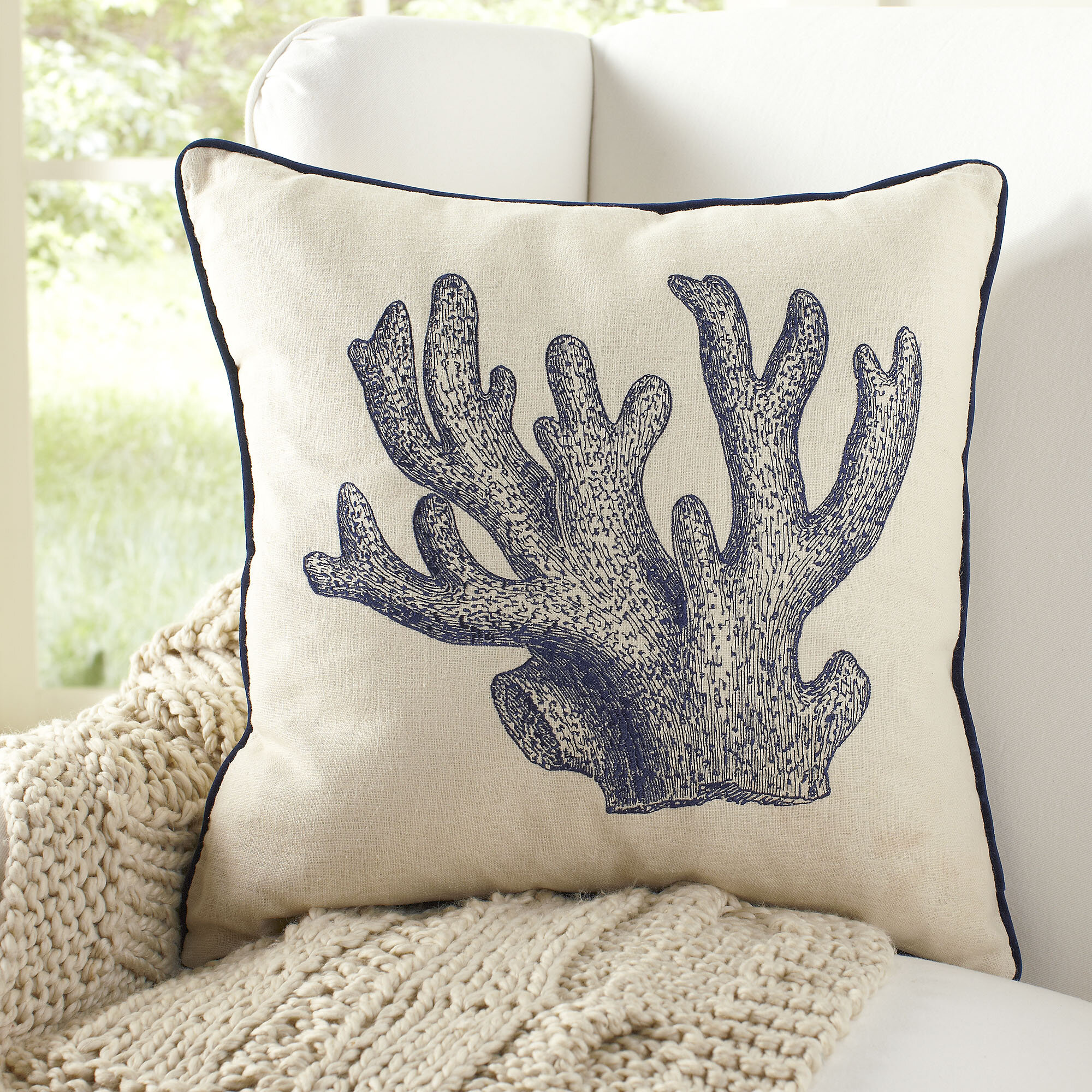 Highland Dunes Vernell Coral Embroidered Pillow Cover Reviews Wayfair