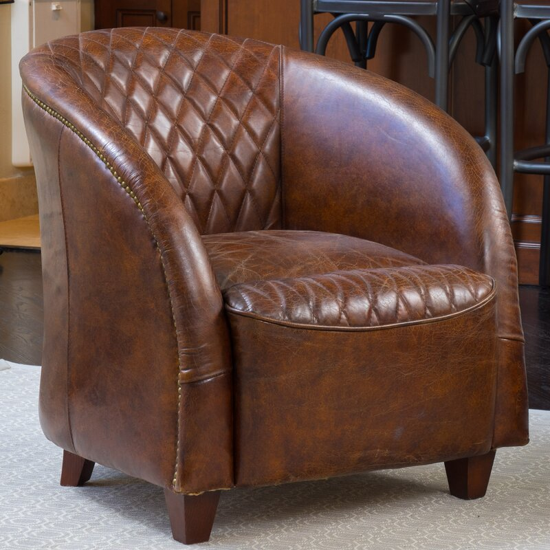 Darby Home CoWilmette Tufted Leather Barrel Chair