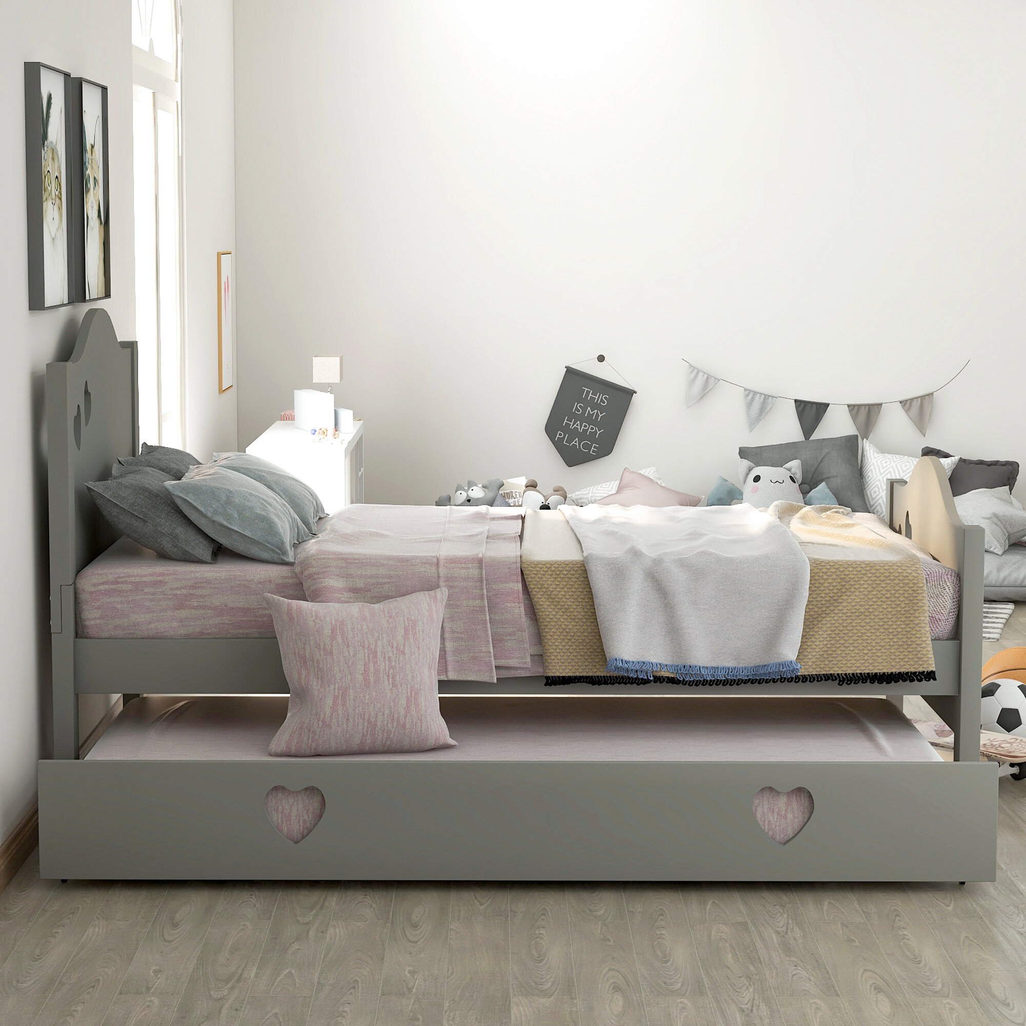 - Harriet Bee Twin Size Daybed With Trundle, Solid Wood Twin Bed For