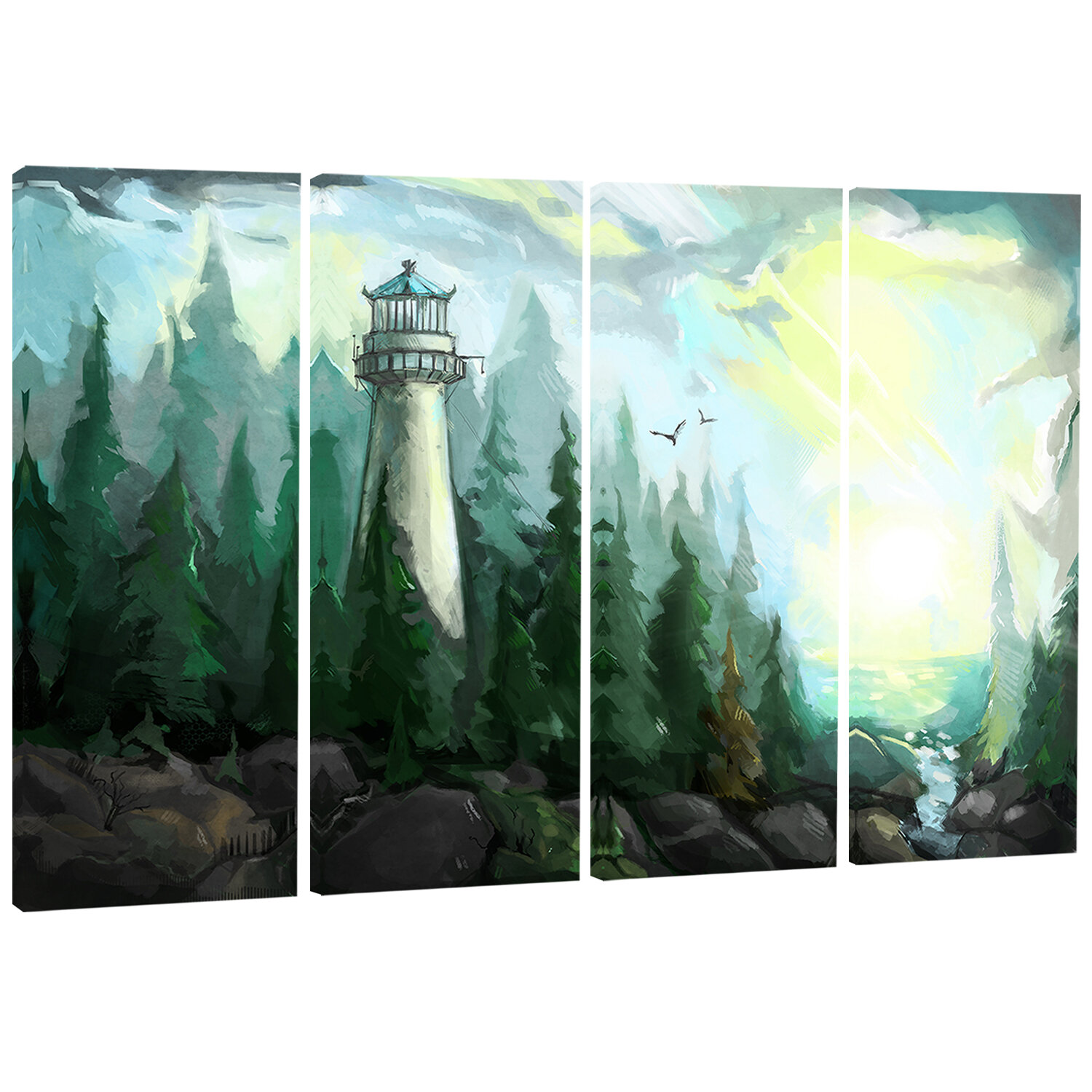 Designart Landscape With River And Trees Modern 4 Piece Painting Print On Wrapped Canvas Set Wayfair