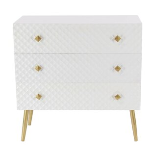 Everly Quinn Casha Modern Diamond-Patterned 3 Drawer Accent Chest