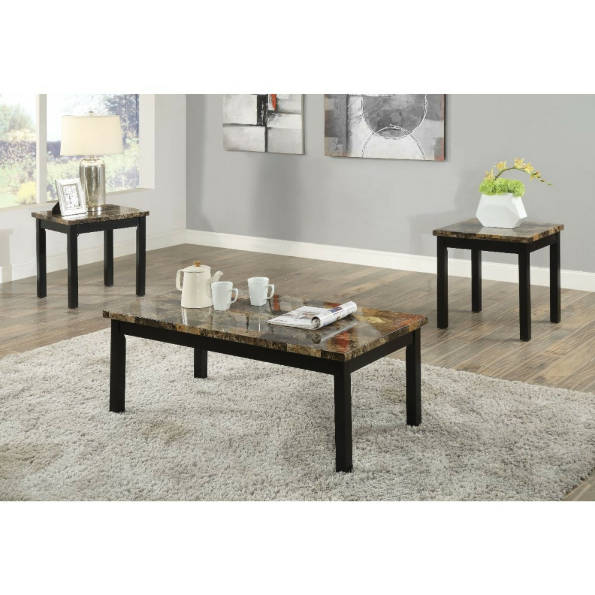 Awesome Screven Transitional Wood And Faux Marble 3 Piece Coffee Table Set Caraccident5 Cool Chair Designs And Ideas Caraccident5Info