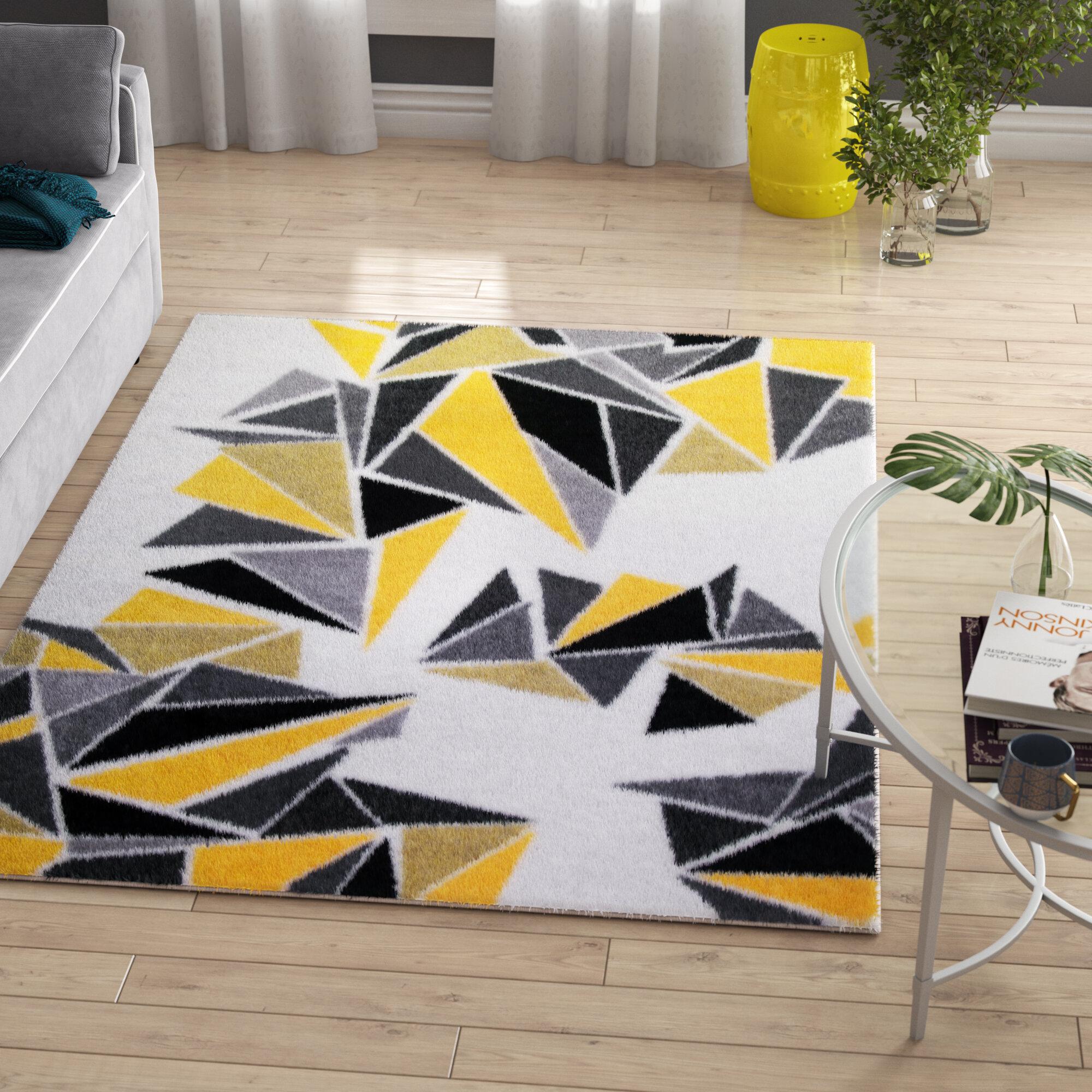 Zipcode Design Leitha Geometric Yellow Gray Area Rug Reviews Wayfair