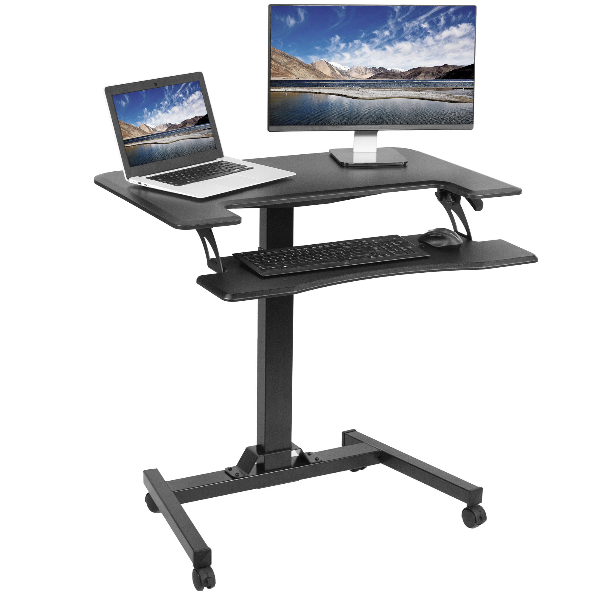 Picture of: Vivo Two Platform Pneumatic Mobile Height Adjustable Standing Desk Reviews