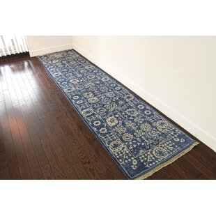 Affordable Price One-of-a-Kind Beason Tone on Tone Hand-Knotted Runner 2'5 x 8'2 Wool/Silk Blue/White Area Rug By Isabelline