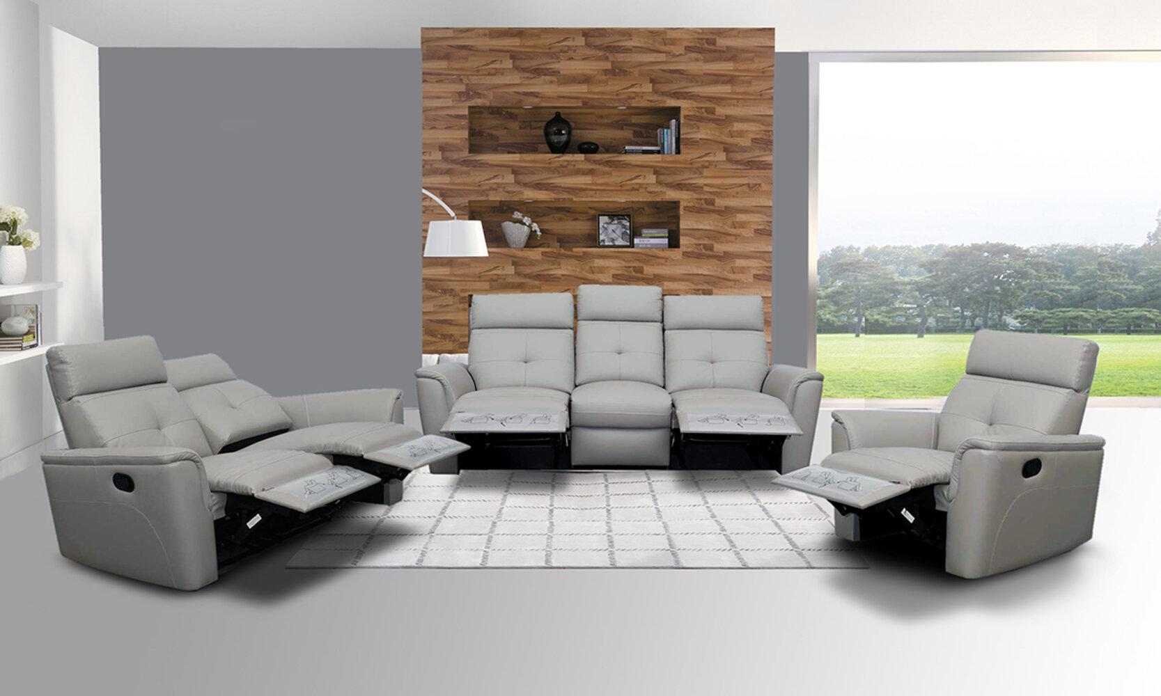 Latitude Run Anastasika 3 Piece Leather Reclining Living Room Set Wayfair