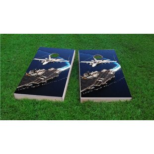 Custom Cornhole Boards Jet Flying Over Aircraft Carrier Light Weight Cornhole Game Set