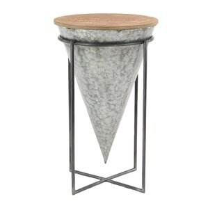 Lacee Modern Wood and Iron Cone Shaped 26