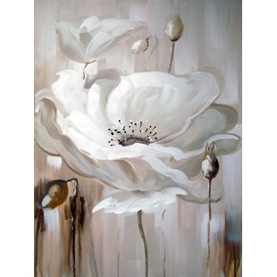 White flower painting wayfair white flower ii oil painting print on wrapped canvas mightylinksfo