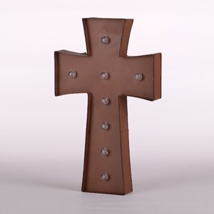 Rusty Marquee LED Lighted Cross Sign Battery Operated Wall Décor By Glitzhome