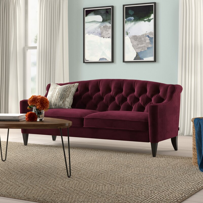 Pamelia Velvet 75 Recessed Arm Sofa