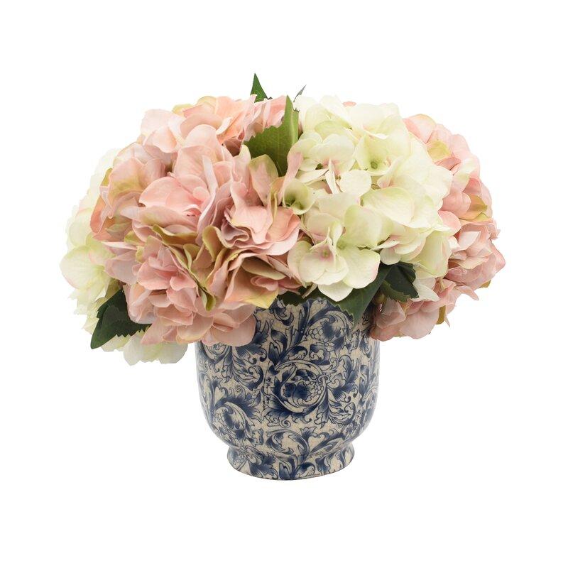 Aahil Hydrangea Floral Arrangement In Pot Birch Lane