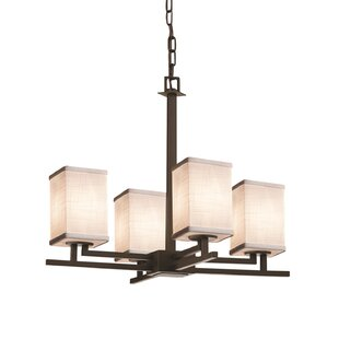 Ebern Designs Favela Aero 4 Light Square w/ Flat Rim Chandelier