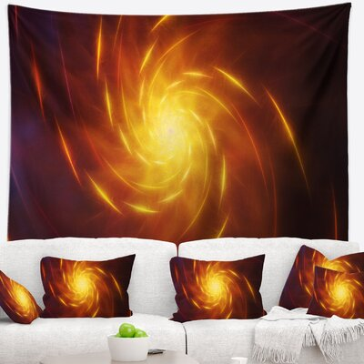 Abstract Yellow Whirlpool Fractal Spirals Tapestry East Urban Home Size: 68 H x 80 W