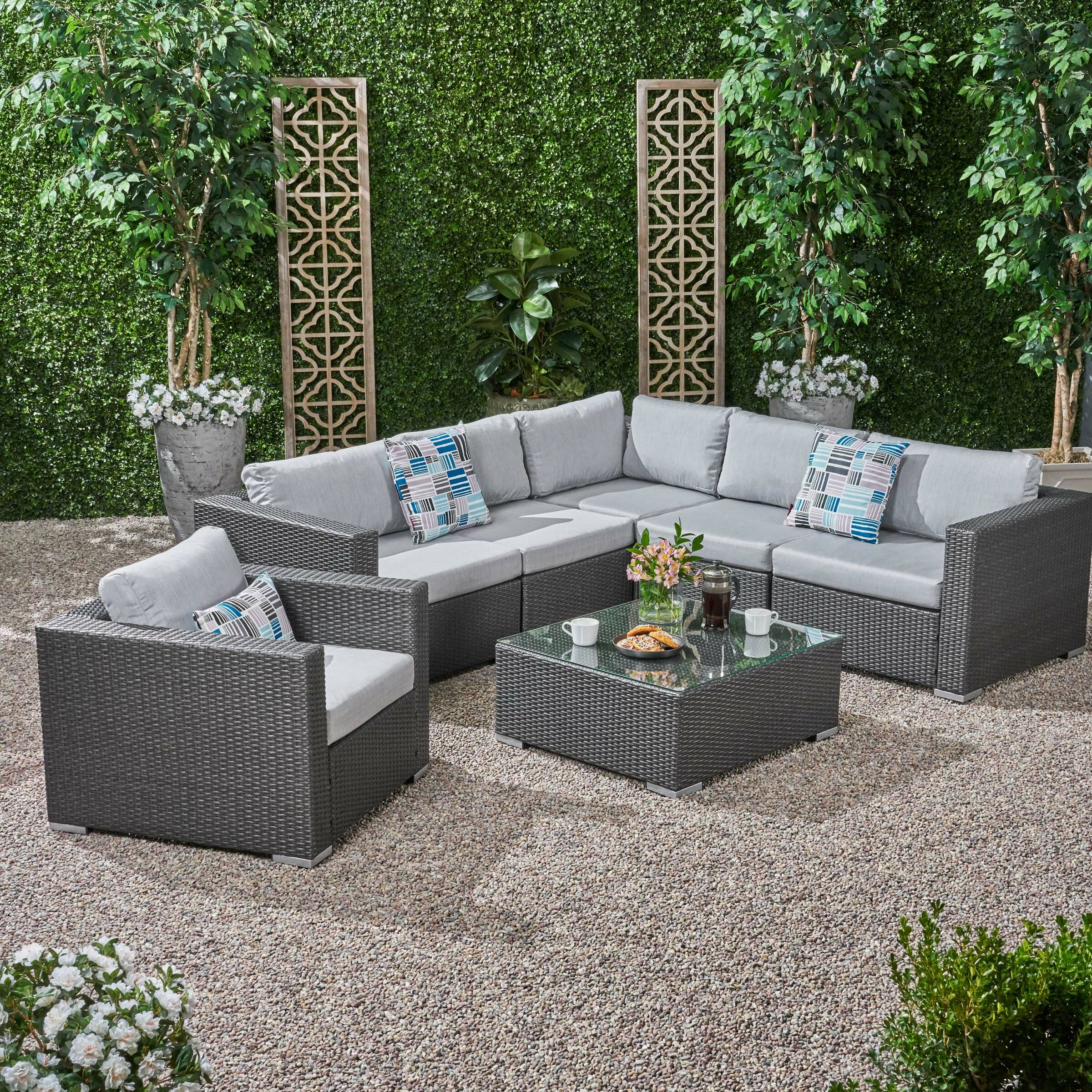 6 Seater Wicker Sectional Sofa Set