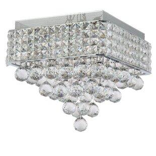 Everly Quinn Ahlstrom 4-Light Crystal Shade Flush Mount