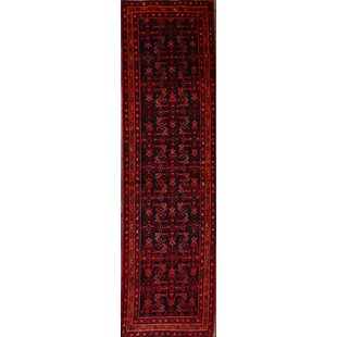 Coupon One-of-a-Kind Lenore Genuine Geometric Persian Hand-Knotted Runner 3'8 x 13'1 Wool Blue/Burgundy Area Rug By Isabelline