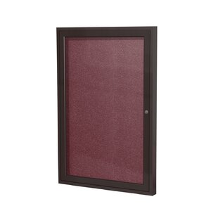 Ghent 1 Door Enclosed Vinyl Bulletin Board with Satin Frame by Ghent