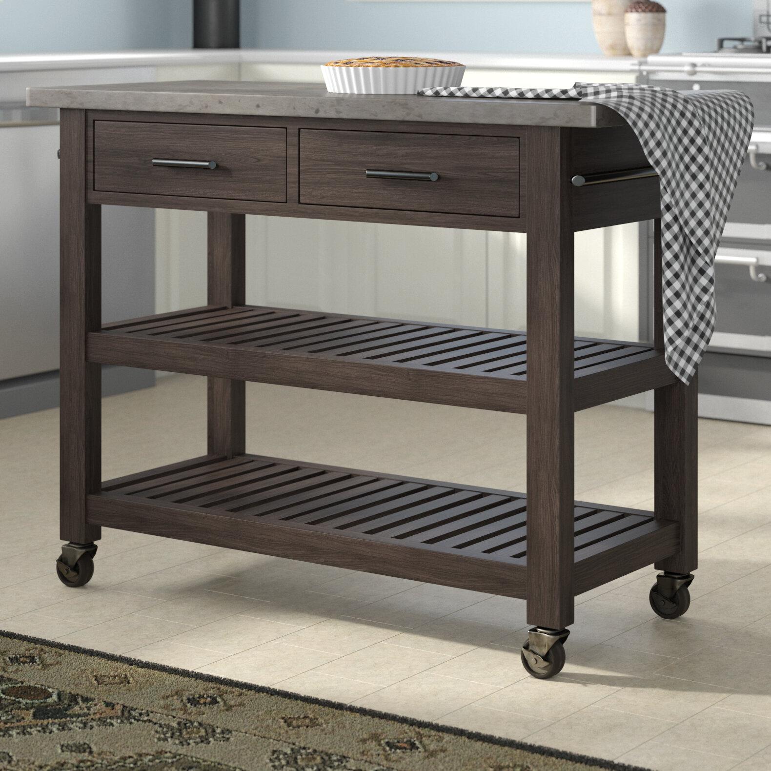 Jameown Kitchen Cart with Concrete Top