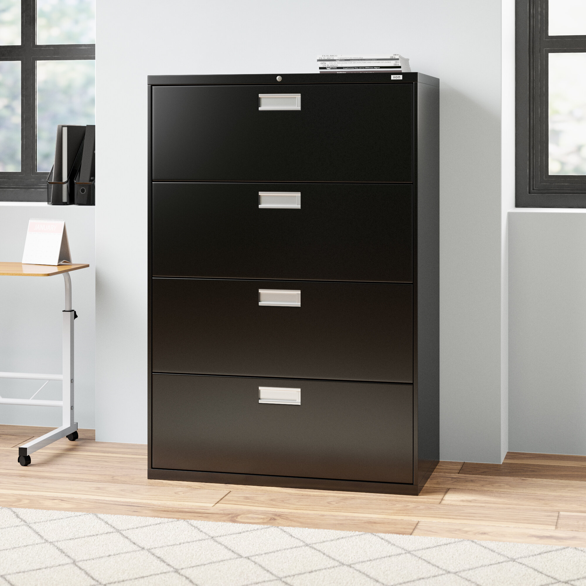 Picture of: Hon Brigade 600 Series 4 Drawer Lateral Filing Cabinet Reviews Wayfair