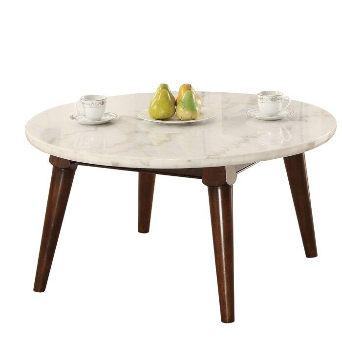 Calderdale Marble Top Wood Base Coffee Table