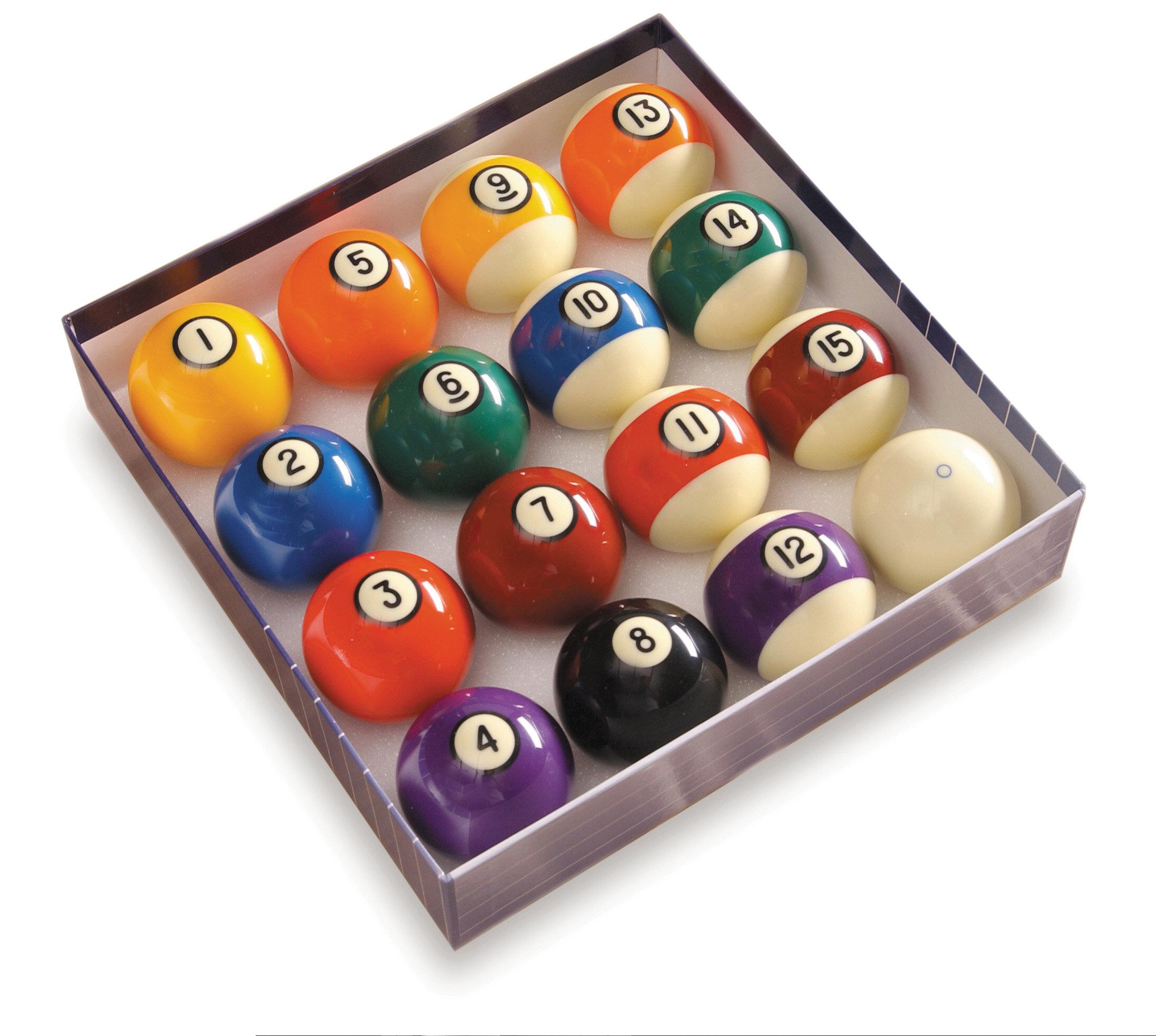 R/ésine Polyester Irfora Les Boules de Table de Billard denfants de 38MM Ont plac/é lensemble Complet de Boules de Queue de Billard de Piscine