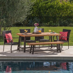 Oren Outdoor 6 Piece Wicker Dining Set