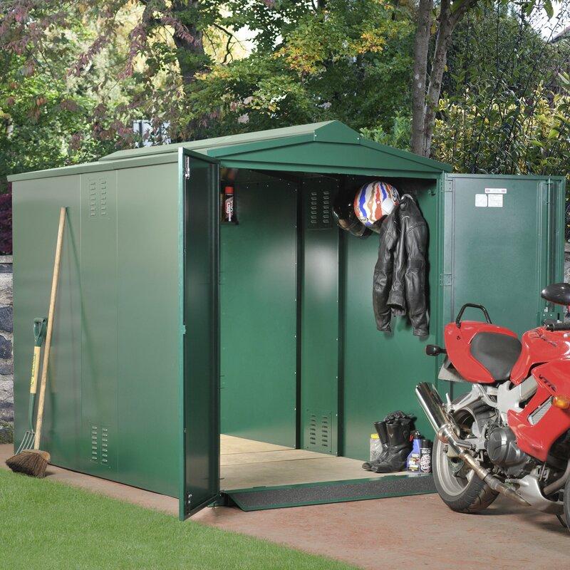 Asgard Motorbike Secure Storage 5 Ft W X 9 Ft D Apex Metal Bike Shed Wayfair Co Uk