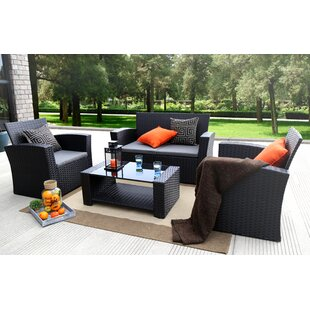 Reordan 4 Pieces Sofa Set with Cushions By Bay Isle Home