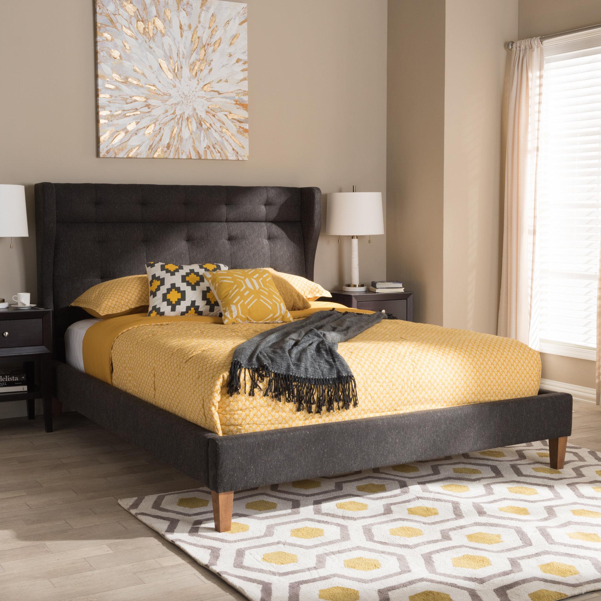 Lax Series Platform Bed cazares mid-century upholstered platform bed