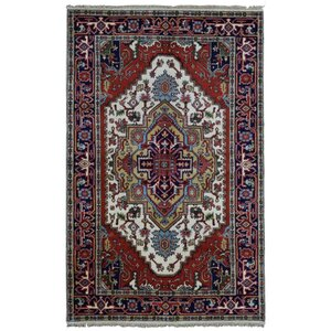Roselle Hand Woven Wool Navy/Red Area Rug