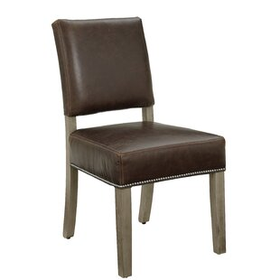 Rader Genuine Leather Upholstered Dining Chair (Set of 2) Gracie Oaks