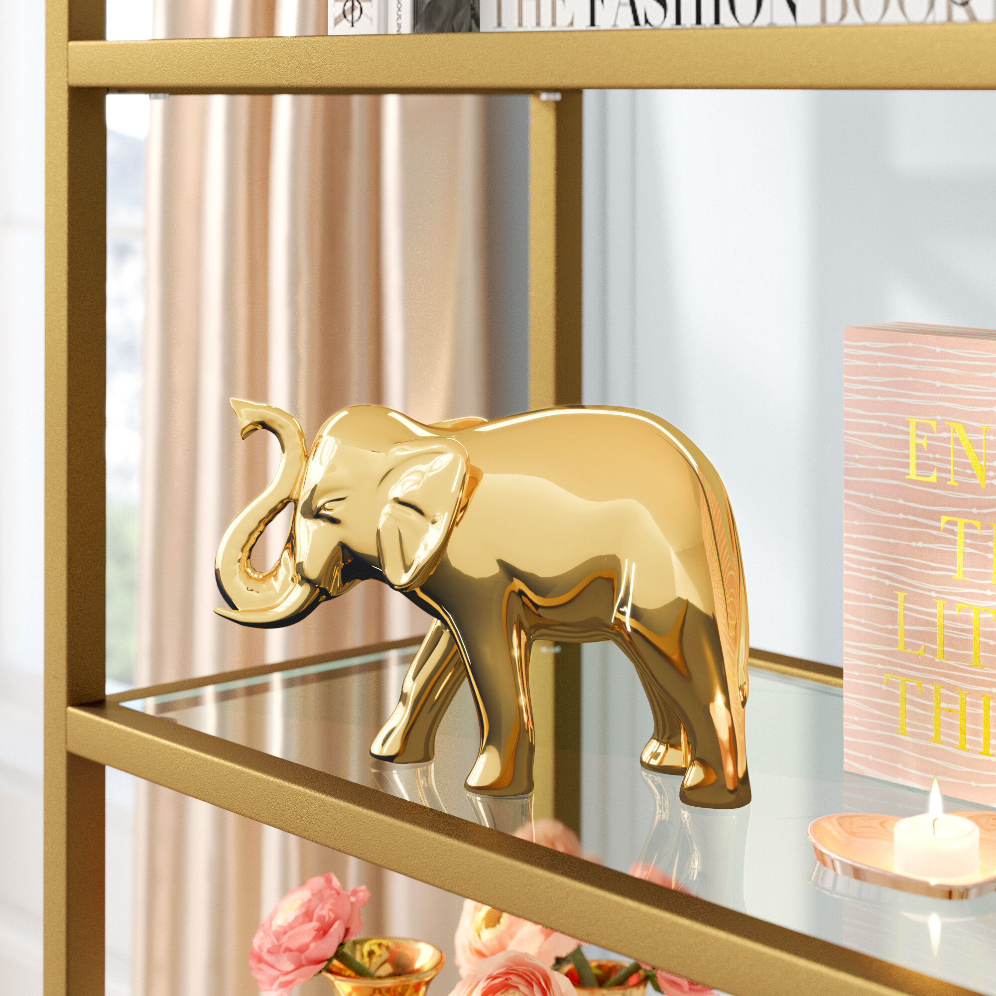 Set of Five Gold Elephants in Graduated Size